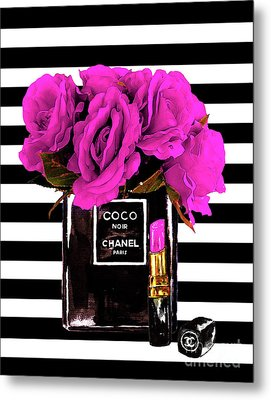 Chanel Noir Perfume With Flowers Metal Print