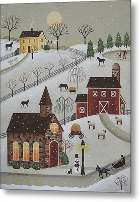 Chapel In The Snow Metal Print by Mary Charles