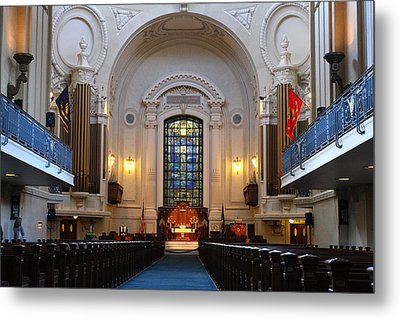 Chapel Interior - Us Naval Academy Metal Print by Lou Ford