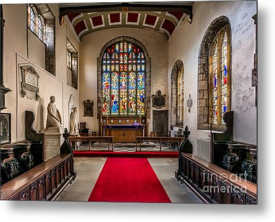 Chapel Stained Glass Metal Print by Adrian Evans