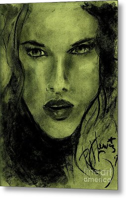 Metal Print featuring the drawing char-Carol by P J Lewis