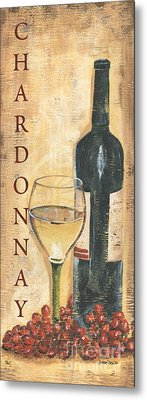Chardonnay Wine And Grapes Metal Print