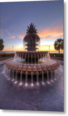 Charelston Pineapple Fountain Sunrise Metal Print