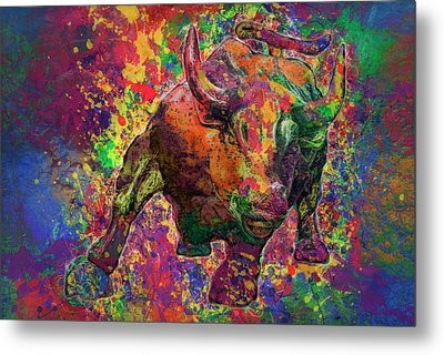 Charging Bull Metal Print by Jack Zulli