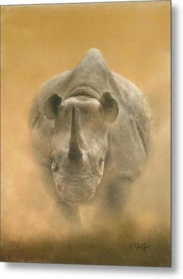 Charging Rhino Metal Print