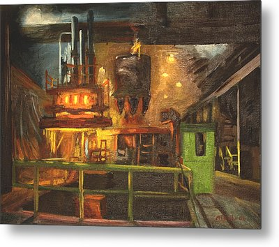 Charging The Arc Furnace Metal Print by Martha Ressler