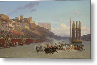 Chariot Race Metal Print by Jean Leon Gerome