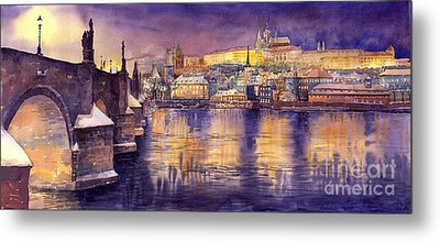 Charles Bridge And Prague Castle With The Vltava River Metal Print