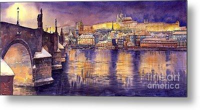 Charles Bridge And Prague Castle With The Vltava River Metal Print by Yuriy  Shevchuk