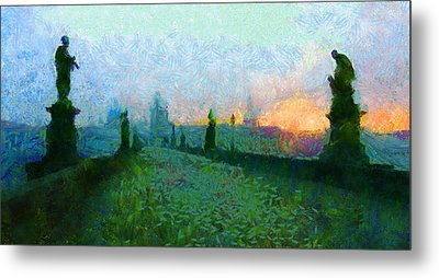 Charles Bridge At Dawn Metal Print by Peter Kupcik