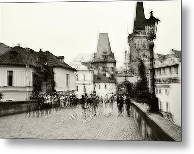 Metal Print featuring the photograph Charles Bridge. Black And White. Impressionism by Jenny Rainbow