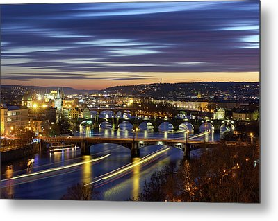 Charles Bridge During Sunset With Several Boats, Prague, Czech Republic Metal Print