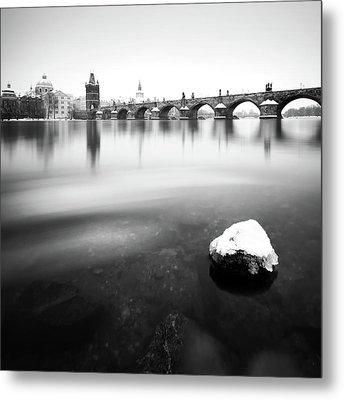 Charles Bridge During Winter Time With Frozen River, Prague, Czech Republic Metal Print