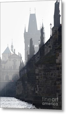 Charles Bridge In The Early Morning Fog Metal Print by Michal Boubin