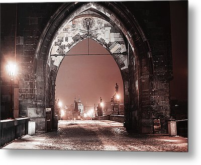 Metal Print featuring the photograph Charles Bridge In Winter. Prague by Jenny Rainbow