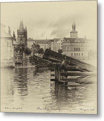 Charles Bridge Motif Metal Print by Prague Art Prints