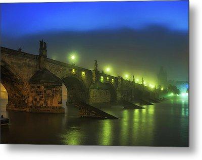 Charles Bridge Night In Prague, Czech Republic Metal Print