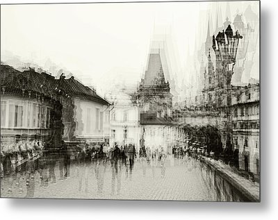 Metal Print featuring the photograph Charles Bridge Promenade. Black And White. Impressionism by Jenny Rainbow