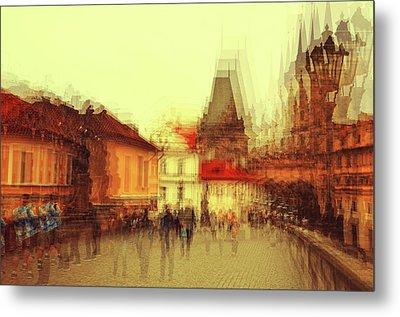 Metal Print featuring the photograph Charles Bridge Promenade. Golden Prague. Impressionism by Jenny Rainbow