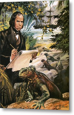 Charles Darwin On The Galapagos Islands Metal Print by Andrew Howat
