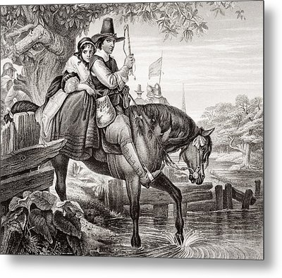 Charles II In Disguise Aided In His Metal Print by Vintage Design Pics
