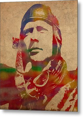 Charles Lindbergh Watercolor Portrait Metal Print