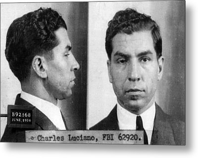 Charles Lucky Luciano Mug Shot 1931 Horizontal Metal Print by Tony Rubino