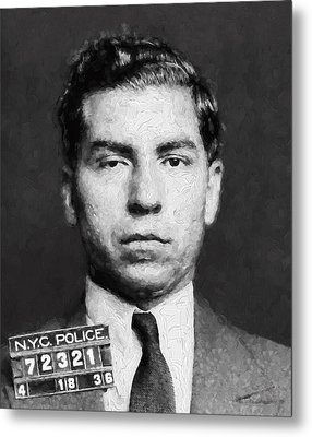 Charles Lucky Luciano  Mugshot Painterly Metal Print