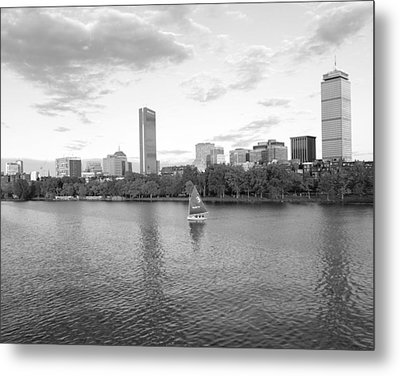 Charles River Sailboat Black And White Metal Print by Toby McGuire
