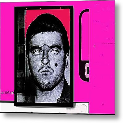 Charles Smitty Schmid Arrest Photo With Makeup Collage  Tucson Arizona 1965-2008 Metal Print by David Lee Guss
