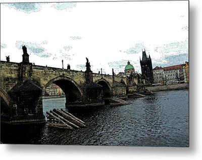 Charles Street Bridge In Prague Metal Print by Paul Pobiak