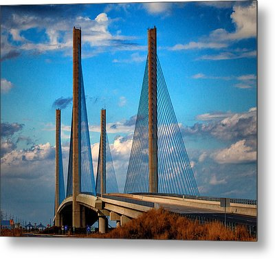 Charles W Cullen Bridge South Approach Metal Print by Bill Swartwout