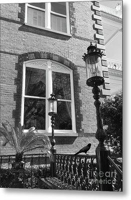 Charleston French Quarter Architecture - Window Street Lanterns Gothic French Black White Art Deco  Metal Print