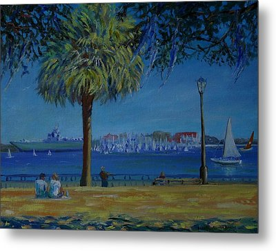 Charleston Harbor Sunday Regatta Metal Print by Dorothy Allston Rogers