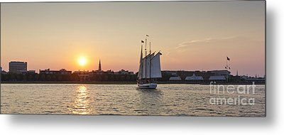 Charleston Harbor Sunset Schooner Metal Print