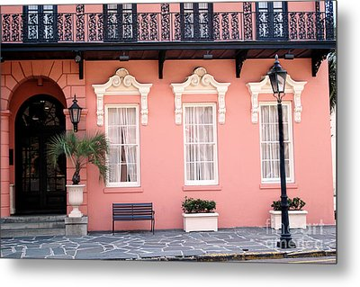 Charleston Mills House Coral Black White Architecture - Charleston Historical Homes Metal Print by Kathy Fornal
