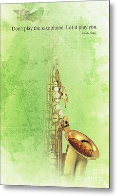 Charlie Parker Saxophone Green Vintage Poster And Quote, Gift For Musicians Metal Print by Pablo Franchi