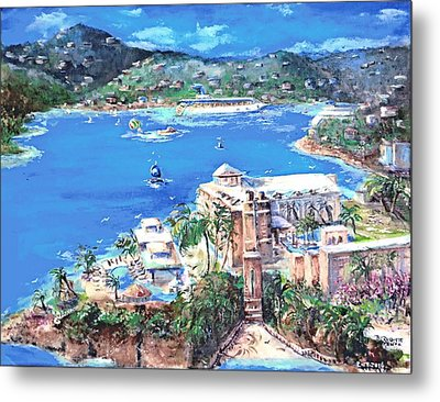 Charlotte Amalie Marriott Frenchmans Beach Resort St. Thomas Us Virgin Island Aerial Metal Print by Bernadette Krupa