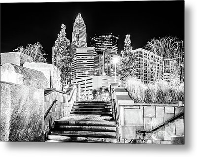 Charlotte At Night Black And White Photo Metal Print by Paul Velgos