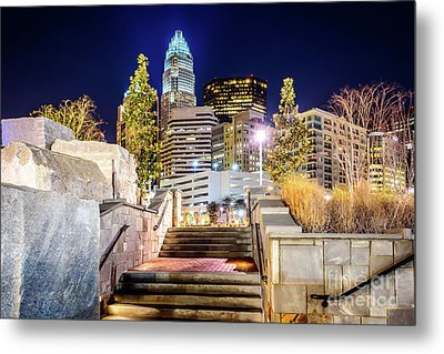 Charlotte At Night With Romare Bearden Park Metal Print by Paul Velgos