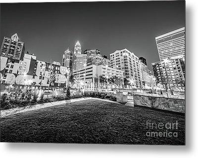 Charlotte City Black And White Photo Metal Print