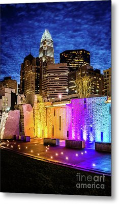 Charlotte Cityscape And Bearden Park Waterfall Wall At Night Metal Print
