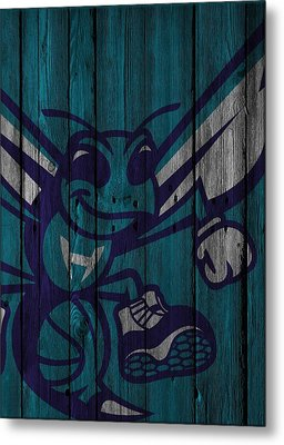 Charlotte Hornets Wood Fence Metal Print
