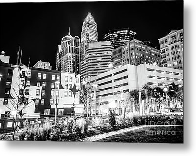 Charlotte Nc Downtown Black And White Photo Metal Print by Paul Velgos