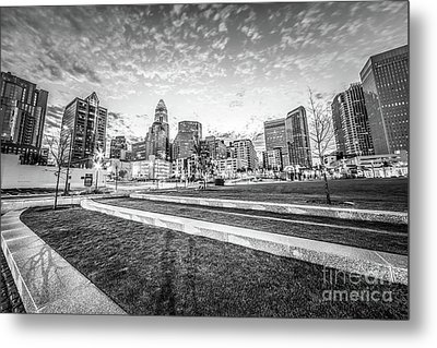 Charlotte Skyline And Bearden Park Black And White Photo Metal Print by Paul Velgos