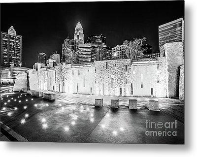 Charlotte Skyline At Night Black And White Photo Metal Print