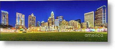 Charlotte Skyline At Night Panorama Photo Metal Print by Paul Velgos
