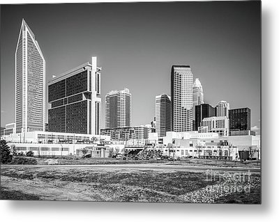 Charlotte Skyline Black And White Picture Metal Print by Paul Velgos