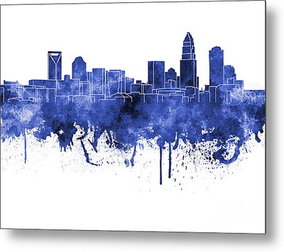 Charlotte Skyline In Blue Watercolor On White Background Metal Print by Pablo Romero