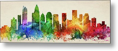 Charlotte Skyline Panorama Usncch-pa03 Metal Print